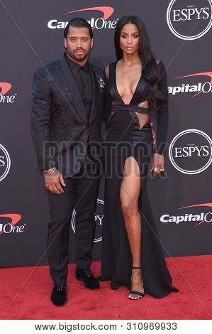 LOS ANGELES - JUL 10:  Russell Wilson and Ciara arrives to ESPY Awards 2019  on July 10, 2019 in Hollywood, CA