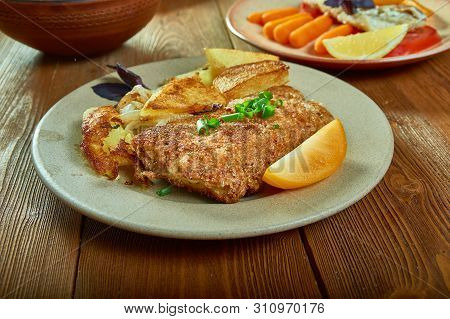 Crumbed Snapper - Cajun  Pan-fried Crumbed Fish Close Up