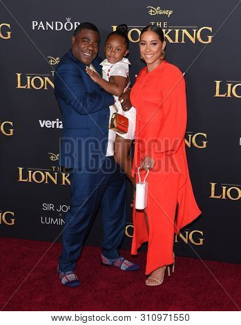 LOS ANGELES - JUL 09:  Tracy Morgan, Maven Sonae Morgan and Megan Wollover arrives for Disney's 'The Lion King' World Premiere on July 09, 2019 in Hollywood, CA