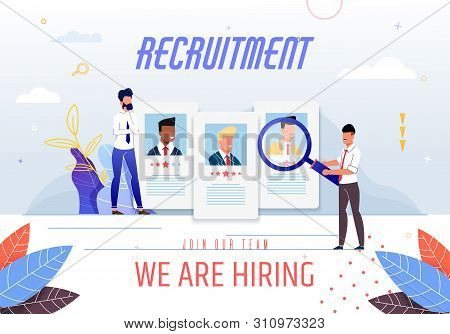 Poster Inscription Recruitment We Are Hiring. Join Our Team. Job Search On Internet. Responsible Emp