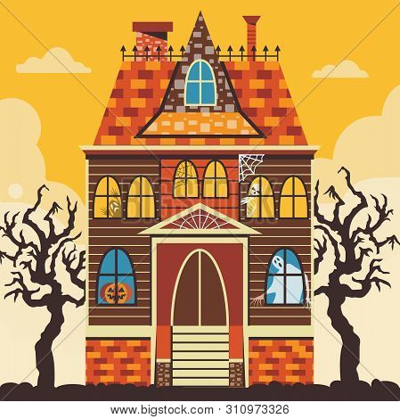 Creepy Halloween Haunted House Scene Card Template