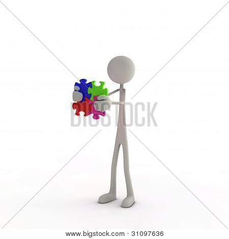 Figure Holds A Puzzle Piece In His Hands
