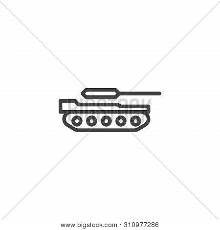 Military Tank Line Icon. Linear Style Sign For Mobile Concept And Web Design. Artillery Tank Outline
