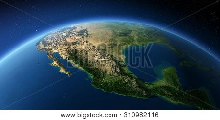Highly Detailed Planet Earth With Exaggerated Relief Illuminated By The Evening Sun. Mexico. 3d Rend