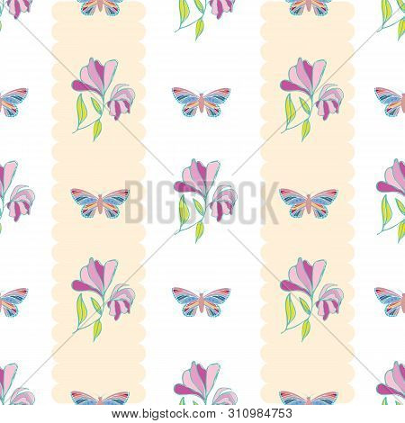 Vintage Style Hand Drawn Butterflies And Flowers Design. Seamless Vertical Geometric Vector Pattern