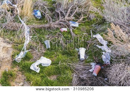 Close up of grassy ground littered with discarded plastics and disposable cups poster