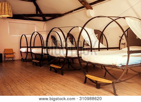 Porto, Portugal: Beds Of Dorm Room Of A Hostel Bedroom For Students And Tourists On 21 May, 2019. Po