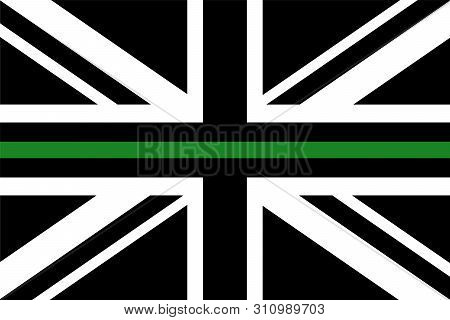 United Kingdom Flag With A Thin Green Line - A Sign To Honor And Respect British Border Patrol, Park