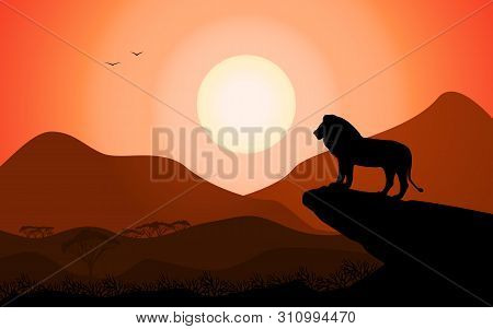 Vector Illustration Of A Landscape Silhouette Of A King Lion Standing On A Rock Against A Sunset Bac
