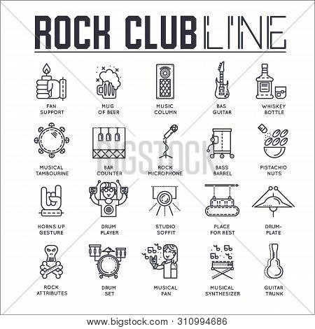 Set Of Rock Club Thin Line Icons, Pictograms.