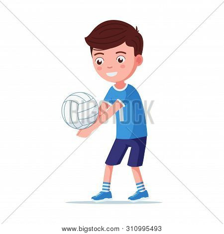 Boy Volleyball Player Takes The Ball. A Young Child In Sportswear Is Playing Volleyball. Vector Illu