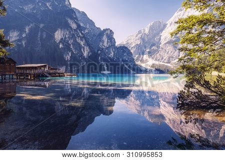 Summer morning at Lago di Braies (also known as Pragser Wildsee) in Dolomites Mountains, Sudtirol, Italy.