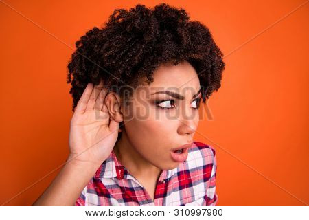 Close Up Photo Of Astonished Person People Dont Understand She Her New Information Hold Hand Ear Wea