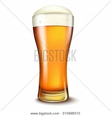 Wheat Beer Ads, Beer Glass With Attractive Beer, 3d Illustration Isolated On White Background.