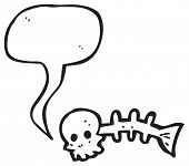 spooky skull fish bones with speech bubble poster
