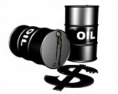 Oil drums and a dollar symbol of leaking oil representing the burden on the dollar by the oil markets poster