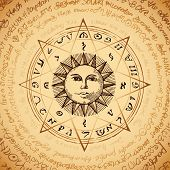 Illustration of the sun in an octagonal star with magical inscriptions and symbols on the beige background. Vector banner with old manuscript in retro style written in a circle. poster