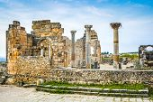 Ruins of the roman city of Volubilis, UNESCO world heritage site near Fes and Meknes, Morocco poster