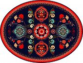 Bright colorful oval Persian vector design for rug, carpet, medallion. Geometric floral backdrop. Arabian ornament with decorative elements. Elliptical Turkish carpet with folk national ornament poster