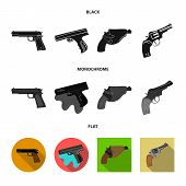 Isolated object of revolver and pistol logo. Collection of revolver and trigger stock vector illustration. poster