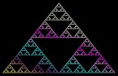 Sierpinski fractal in rainbow colors isolated over black poster