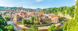 Cesky Krumlov,czech Republic - June 20,2019 - Panoramic View At The Cesky Krumlov Town With Meander