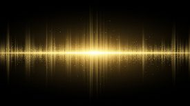 Sound Waves Of Light Golden On A Dark Background. Light Effect. Background For The Radio, Club, Part