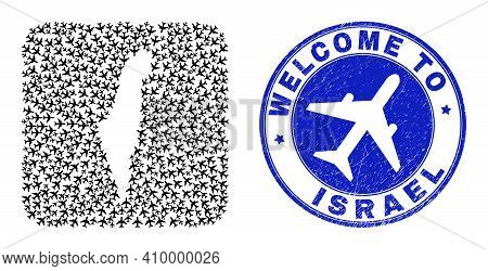 Vector Mosaic Israel Map Of Air Vehicle Elements And Grunge Welcome Badge. Mosaic Geographic Israel