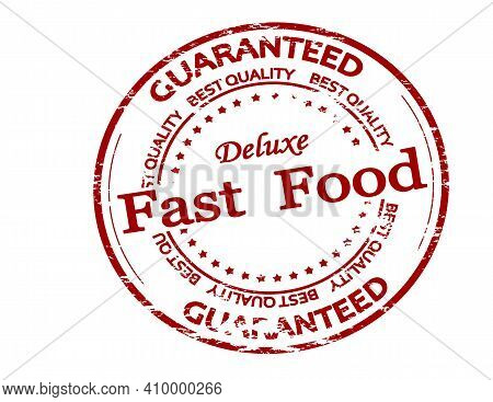 Rubber Stamp With Text Fast Food Inside, Vector Illustration