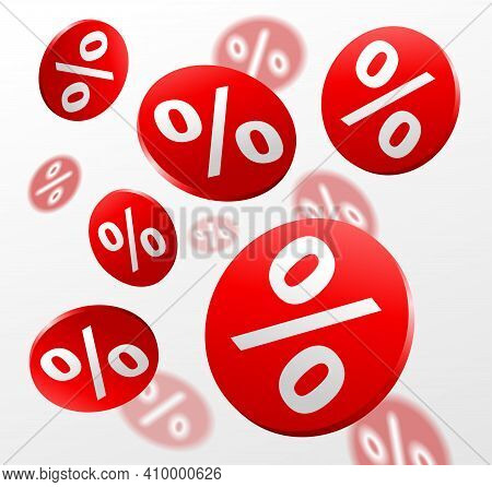 Big Sale Promo Flyer. Percent Badges, Many Red Circles With Percent Sign On White Background. Vector
