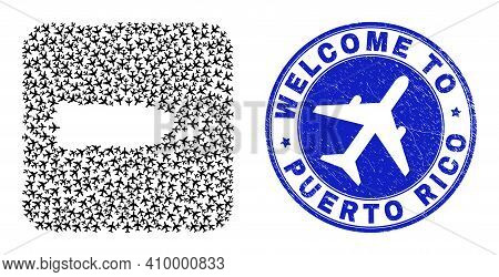 Vector Mosaic Puerto Rico Map Of Tourism Items And Grunge Welcome Badge. Mosaic Geographic Puerto Ri