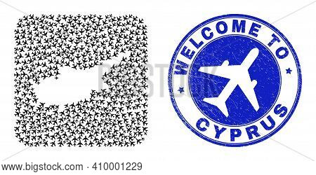 Vector Collage Cyprus Map Of Air Plane Elements And Grunge Welcome Seal Stamp. Mosaic Geographic Cyp