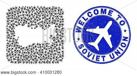 Vector Mosaic Soviet Union Map Of Air Plane Elements And Grunge Welcome Seal Stamp. Collage Geograph