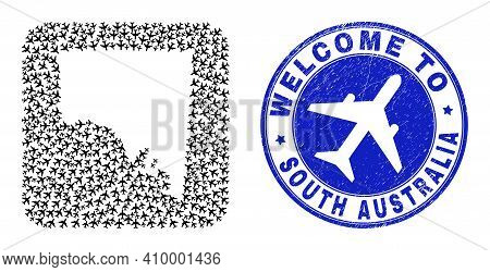 Vector Mosaic South Australia Map Of Air Shipping Elements And Grunge Welcome Badge. Mosaic Geograph