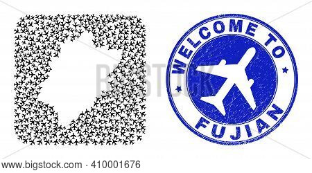 Vector Collage Fujian Province Map Of Airport Elements And Grunge Welcome Seal Stamp. Collage Geogra