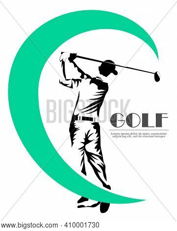 Abstract Silhouette Of A Golf Player, Golfer On The White Background. Sketch Man Hitting Golf Ball
