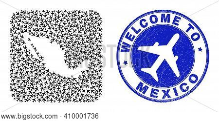 Vector Collage Mexico Map Of Air Fly Elements And Grunge Welcome Stamp. Mosaic Geographic Mexico Map
