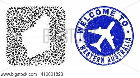 Vector Collage Western Australia Map Of Airplane Items And Grunge Welcome Badge. Collage Geographic