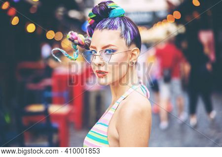 Young Cool Woman Smiling In City Street - Authentic Carefree Girl With Trendy Colorful Braided Hair
