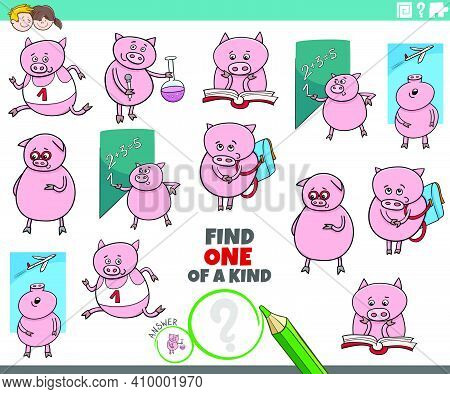 Cartoon Illustration Of Find One Of A Kind Picture Educational Game With Funny Piglets Student Chara