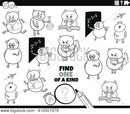 Black And White Cartoon Illustration Of Find One Of A Kind Picture Educational Game With Funny Pigle