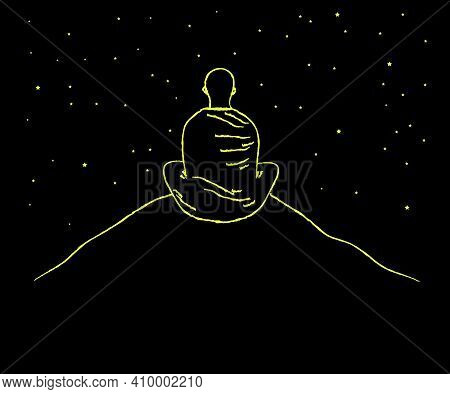 Buddhist Monk Sits On A Mountain On A Black Background. Vector Illustration.