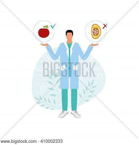 A Dietitian Offers Proper Nutrition Or Junk Food Isolated On A White Background. Medical Worker, Wei