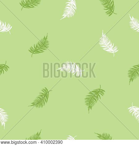 Vector Seamless Pattern Of Tropical Fern Leaves On Dark Green. Beautiful Print With Exotic Plants. B