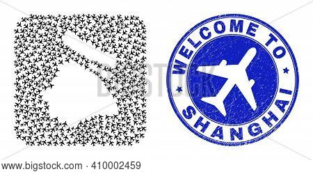 Vector Mosaic Shanghai City Map Of Airline Items And Grunge Welcome Stamp. Mosaic Geographic Shangha
