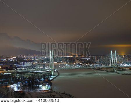 St. Petersburg, Russia, January 29, 2020  Obukhov Big Cable-stayed Bridge Of St. Petersburg Illumina