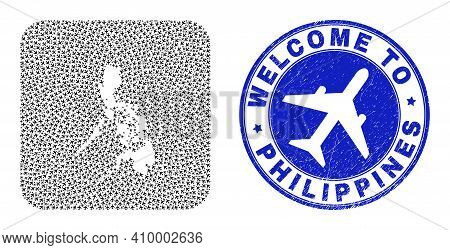 Vector Mosaic Philippines Map Of Air Vehicle Items And Grunge Welcome Badge. Mosaic Geographic Phili