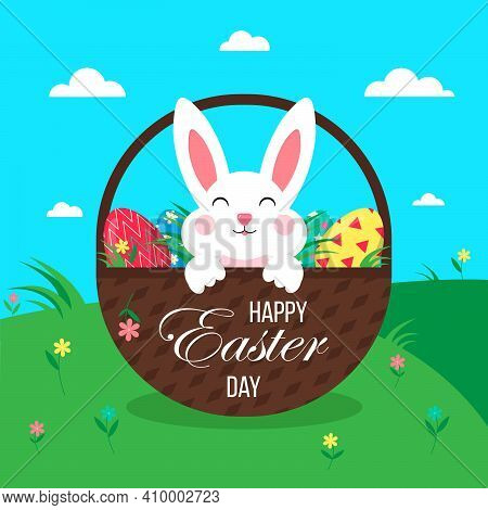 Easter Poster With Eggs, Rabbit, Wicker Basket.happy Easter Day. Greetings And Gifts For Easter In A