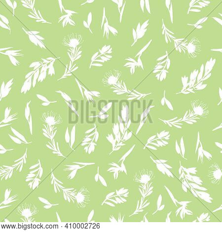 Greenery Seamless Pattern In Hand-drawn Style. Botanical Design Of Fabrics, Wallpapers, For Natural