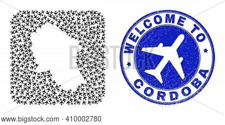 Vector Collage Cordoba Spanish Province Map Of Aeroplane Items And Grunge Welcome Stamp. Mosaic Geog